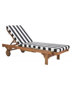 Camden Black and White Striped Outdoor Chaise Lounge With Side Table