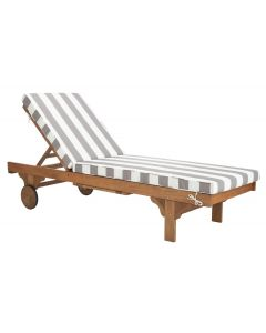 Camden Grey Outdoor Striped Chaise Lounge With Side Table - ON BACKORDER UNTIL EARLY OCTOBER 2019
