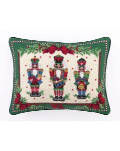 Nutcracker Melody Needlepoint Holiday Pillow - LOW STOCK - CALL TO CONFIRM AVAILABILITY