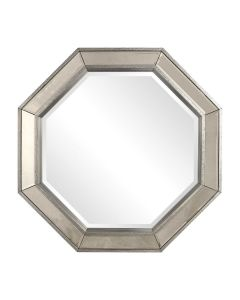 Octagonal Mirror With Burnished Silver Frame
