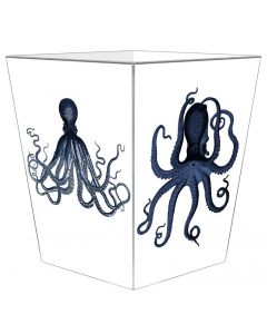 Octopus Decoupage Wastebasket and Optional Tissue Box