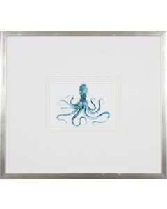 Octopus Wall Art in Silver Frame