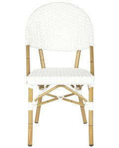 Off White Indoor-Outdoor Stacking Side Chair With Faux Bamboo Frame - Set of 2
