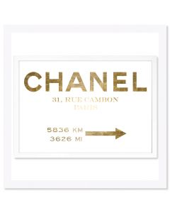 """Couture Road Sign Minimalist Gold Foil"" Chanel-Inspired Wall Art"