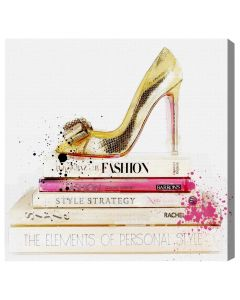 Gold Shoe and Fashion Books Canvas Wall Art - Available in 5 Sizes