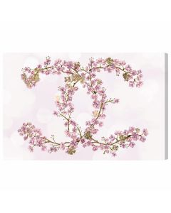 """Sakura Love"" Floral Chanel Symbol Wall Art - Available in 5 Sizes"