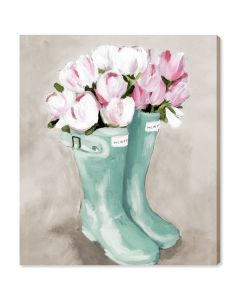 Tulips in Spring Boots Canvas Print Wall Art - Available in 6 Sizes