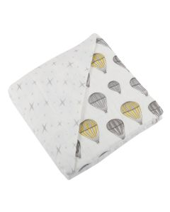 Hot Air Balloon and Stars Bamboo Muslin Baby Blanket