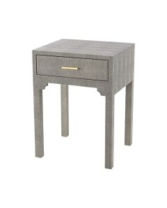 One Drawer Accent Side Table in Grey Faux Shagreen  - LOW STOCK