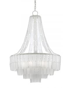 Opaque White Glass Chandelier in Contemporary Silver Leaf Finish