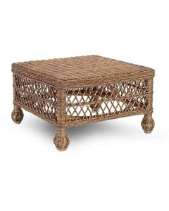 Natural Rattan Wicker Open Weave Ottoman - Available in a Variety of Colors
