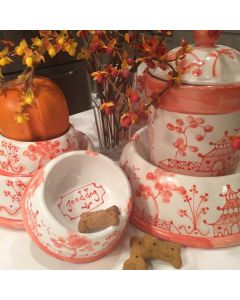 Orange Chinoiserie Dog Bowl - Can be Personalized