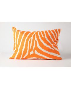 Orange Zebra Natural Linen Lumbar Pillow