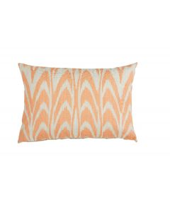 Lacefield Designs Orange Ikat Scallop Coral Lumbar Pillow