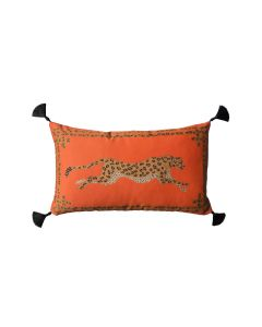 Orange Leopard Lumbar Pillow With Silk Tassels