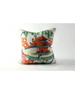 Orange Pagoda Linen Decorative Throw Pillow