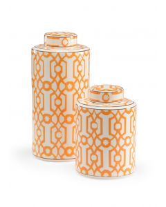 Orange Trellis Porcelain Canisters