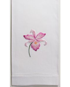 Set of 2 Orchid Gala Floral Embroidered Hand Towels