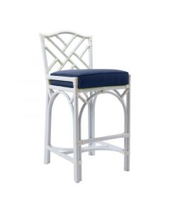 David Francis Chippendale Outdoor Counter Stool in White