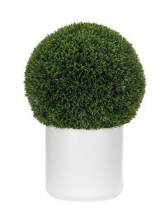 Outdoor Faux Boxwood Ball in White Ceramic Pot - ON PREORDER FOR JANUARY 2021
