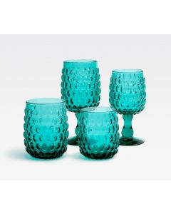 Oval Shape Claire Hand Blown Glasses in Teal
