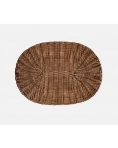 Oval Woven Rattan Placemats in Honey, Set of 4