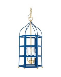 Navy Blue Pendant 3-Light Lantern with Gold Accents