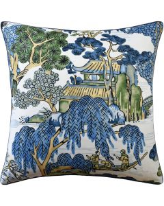 Pagoda Design Square Decorative Pillow in Blue and Green – Available in Two Sizes