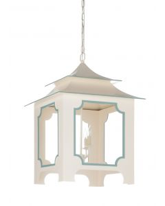 Large Cream and Blue Pagoda Tole Lantern - CURRENTLY ON BACKORDER