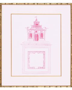 Pagoda Design I Framed Lithograph in Pink