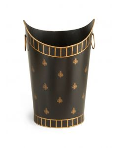 Painted Black and Gold Bee Wastebasket - OUT OF STOCK