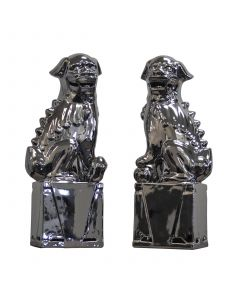 Medium Sitting Foo Dog Pair in Metallic Silver Porcelain