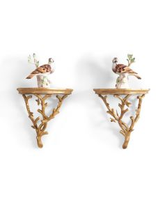 Pair of Antique Gold Twig Wall Brackets
