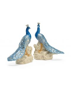 Pair of Blue, Cream and Metallic Gold Porcelain Decorative Peacocks