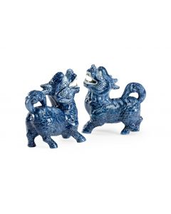 Pair of Blue Glaze Ceramic Foo Dogs - ON BACKORDER UNTIL MARCH 2021