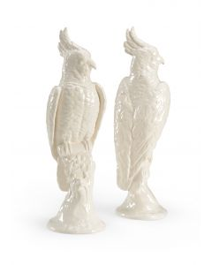 Pair of White Glaze Ceramic Cockatoos