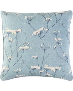 Pale Blue and Cream Branches Design Woven Linen Pillow - Available in a Variety of Sizes - FINAL STOCK, CALL TO CONFIRM AVAILABILITY