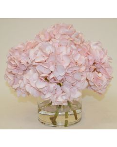 Pale Pink Hydrangea Faux Florals in a Glass Vase