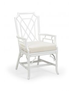 Palm Beach Rattan Fretwork Arm Chair in White - OUT OF STOCK