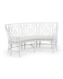 Palm Beach Rattan Fretwork Curved Settee in White