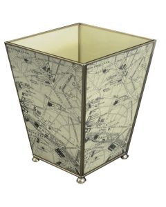 Paris Map Wastebasket and Optional Tissue Box