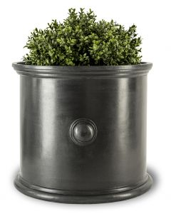 Parker Round Faux Lead Garden Planter With Cannon Ball Motif