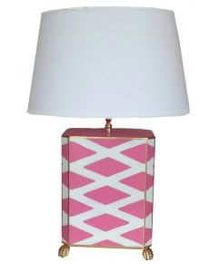 Dana Gibson Parthenon Table Lamp in Pink and White with Shade