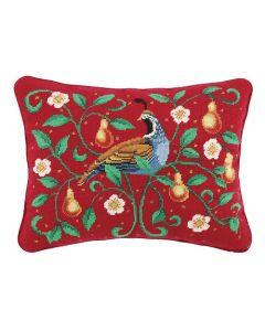 Partridge on Red Needlepoint Holiday Pillow - ON BACKORDER UNTIL AUGUST 2021