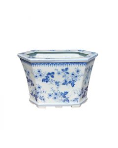 Blue and White Porcelain Floral Hexagon Cachepot
