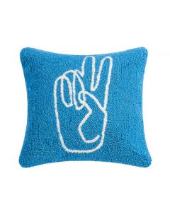 Peace Hand Blue Decorative Throw Pillow - ON BACKORDER UNTIL MAY 2020