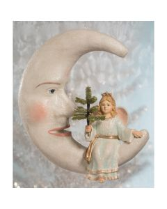 Peaceful Angel on Man in the Moon Christmas Decoration
