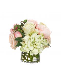 Peach & Pink Rose & Peony Faux Arrangement in Glass Pyramid Vase