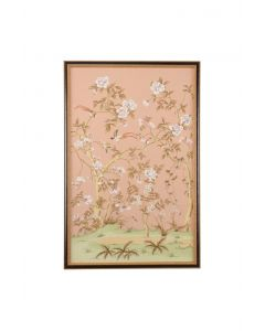 Peach Chinoiserie Panel Wall Art I With Birds and Flowers - ON BACKORDER UNTIL APRIL 2021