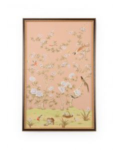 Peach Chinoiserie Panel Wall Art II With Birds and Flowers - ON BACKORDER UNTIL APRIL 2021